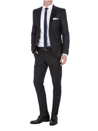 Selected Homme Slim Fit-Sakko mit fallendem Revers in Grau / Schwarz - 1
