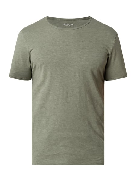 Selected Homme T-Shirt aus Organic Cotton Modell 'Morgan' Grün - 1