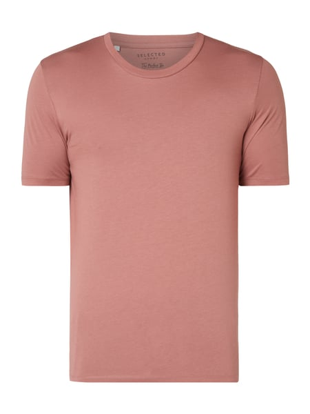 Selected Homme T-Shirt aus Pima-Baumwolle Rosa