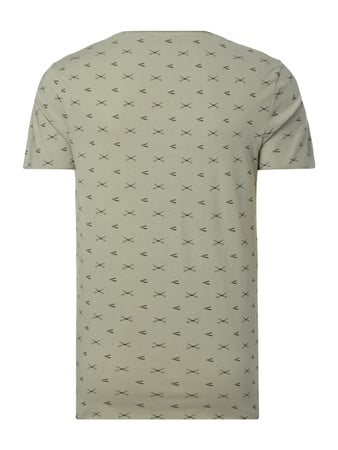 Selected Homme T-Shirt mit Allover-Muster Aqua Blau meliert - 1
