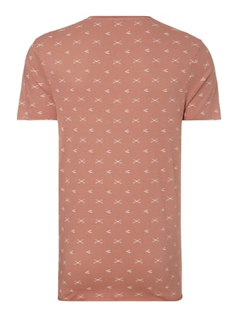 Selected Homme T-Shirt mit Allover-Muster Rostrot meliert - 1