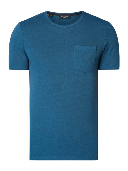 Selected Homme T-Shirt mit Brusttasche Blau - 1