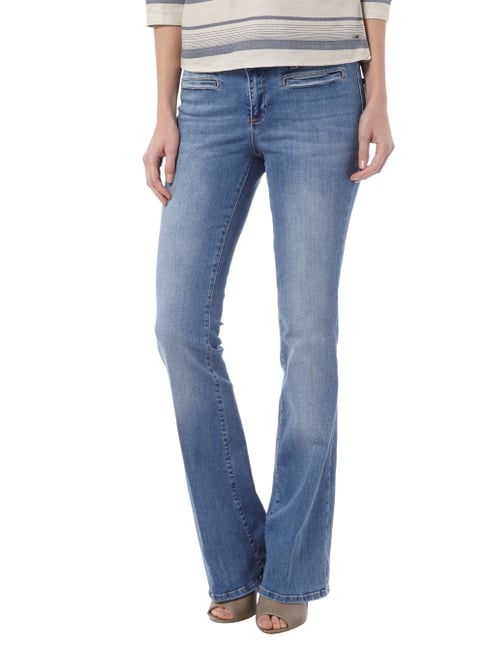 Set Stone Washed Flared Cut Jeans Blau - 1