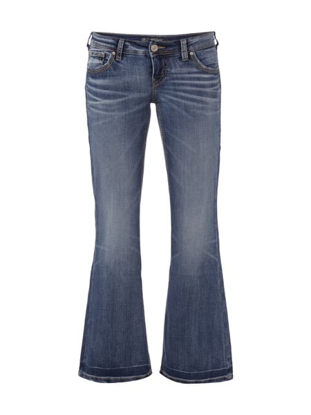 Double Stone Washed Flared Cut Jeans Blau / Türkis - 1