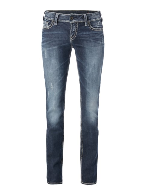Straight Fit Jeans im Used Look Blau / Türkis - 1