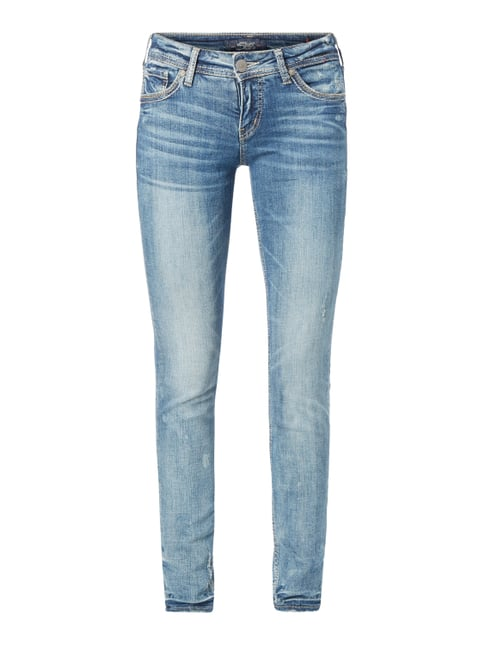 Super Skinny Fit Jeans im Destroyed Look Blau / Türkis - 1