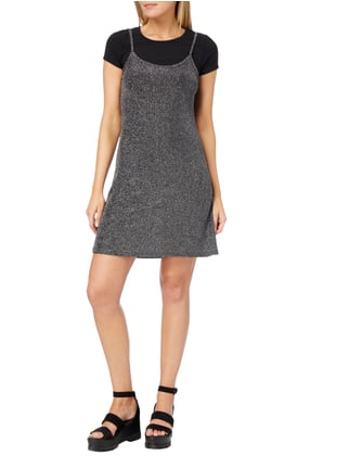 Sisters Point Kleid im 2-in-1-Look mit Effektgarn in Grau / Schwarz - 1