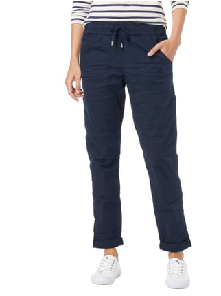 Street One Loose Fit Easy Pants mit Crinkle-Effekt Marineblau - 1