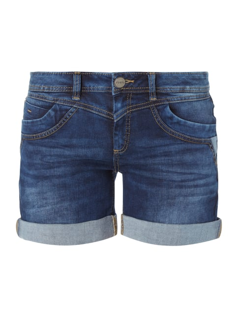 Stone Washed Loose Fit Jeansshorts Blau / Türkis - 1