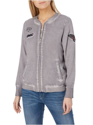 Street One Sweatjacke im Washed Out Look mit Motiv-Patches Graphit - 1