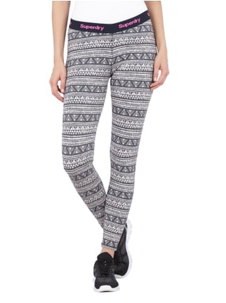 Superdry Leggings mit Ethnomuster Marineblau - 1