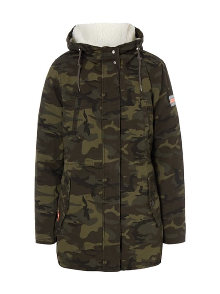superdry parka mit herausnehmbarem teddyfutter in gr n. Black Bedroom Furniture Sets. Home Design Ideas