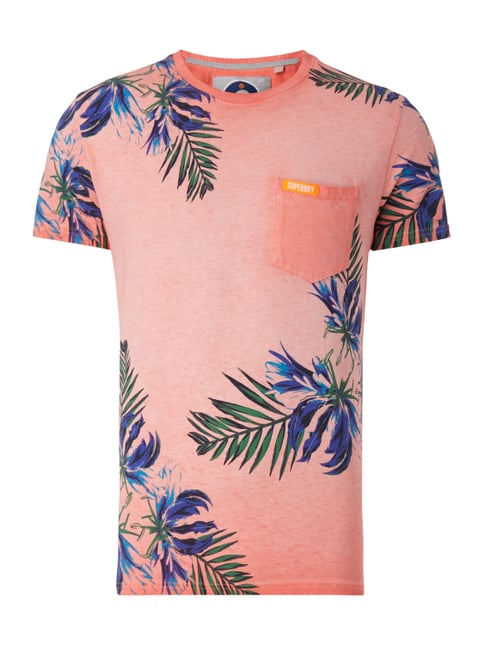T-Shirt im Washed Out Look mit Print Orange - 1
