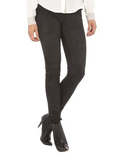 Supertrash Jeggings in Velourslederoptik Schwarz - 1
