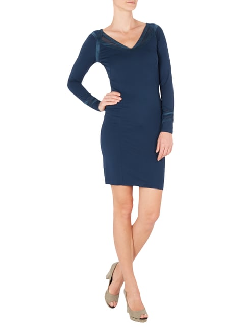 Supertrash Kleid mit Zierstreifen in Velourslederoptik in Blau / Türkis - 1
