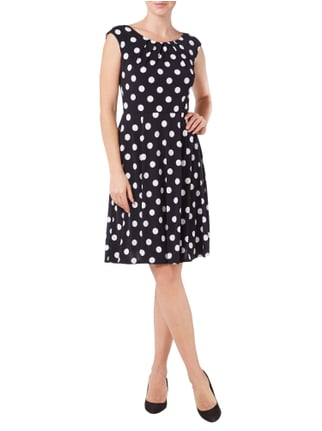Swing Cocktailkleid mit Polka Dots in Blau / Türkis - 1