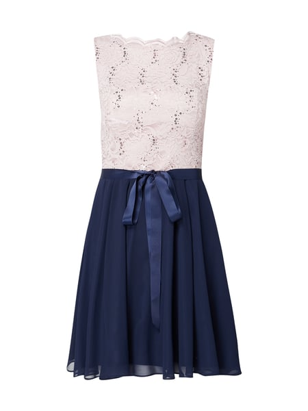 Swing Two-Tone-Cocktailkleid mit Pailletten Blau - 1