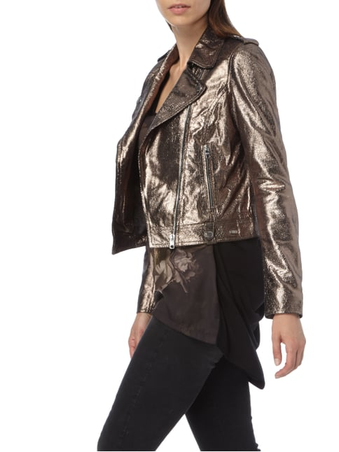 Tigha Cropped Lederjacke in Metallicoptik Gold - 1