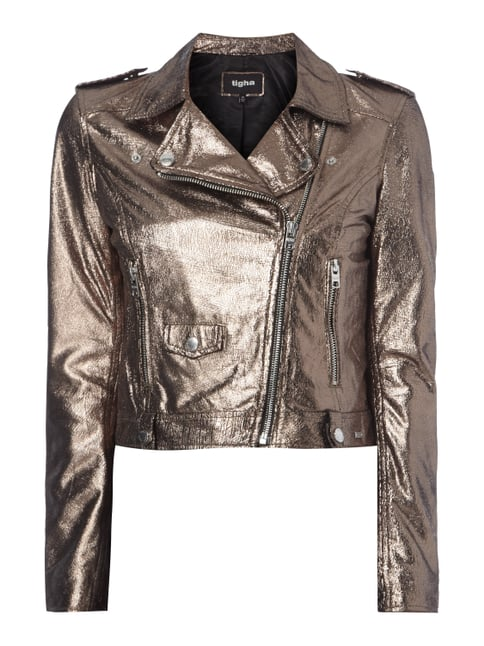 Cropped Lederjacke in Metallicoptik Gelb - 1