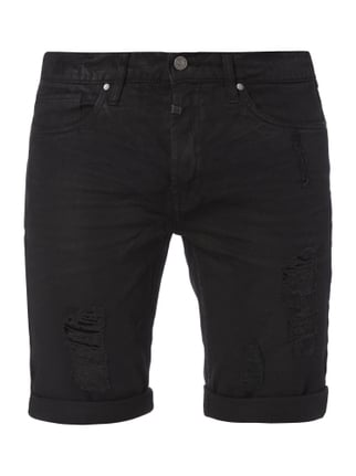 Destroyed Look 5-Pocket-Jeansbermudas Grau / Schwarz - 1