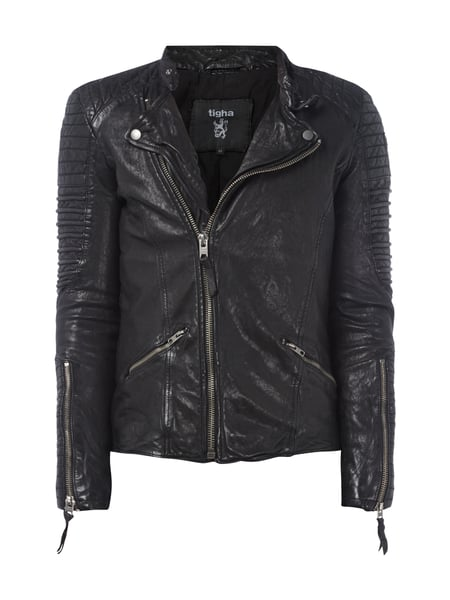tigha lederjacke im biker look in grau schwarz online. Black Bedroom Furniture Sets. Home Design Ideas