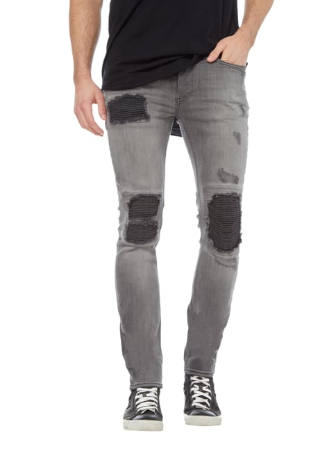 Tigha Slim Fit Jeans im Biker-Look Hellgrau - 1