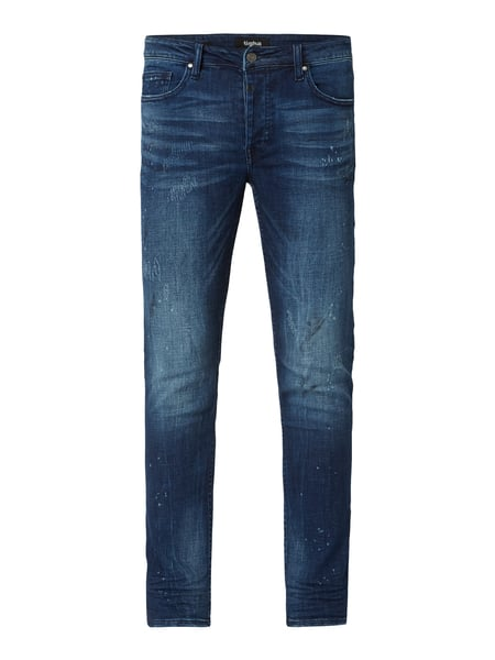 Tigha Slim Fit Jeans im Heavy Used Look Blau / Türkis - 1