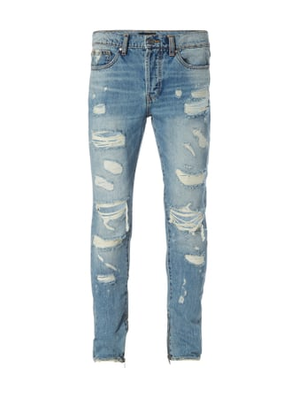 Stone Washed Jeans im Destroyed Look Blau / Türkis - 1