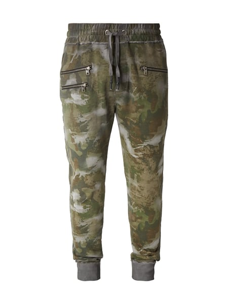 Tigha Sweatpants mit Camouflage-Muster Olivgrün