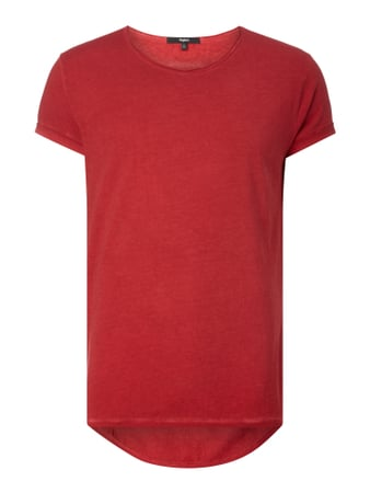 Vokuhila T-Shirt im Washed Out Look Rot - 1
