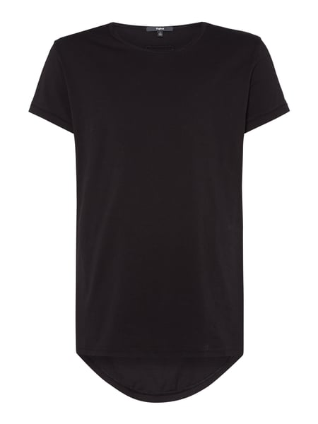 Tigha Vokuhila T-Shirt im Washed Out Look Schwarz