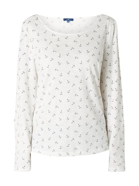 Tom Tailor Blusenshirt mit Allover-Muster Offwhite