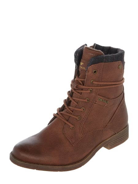 new product 0bc59 576e7 Tom Tailor – Boots mit Kontrasteinsatz – Cognac