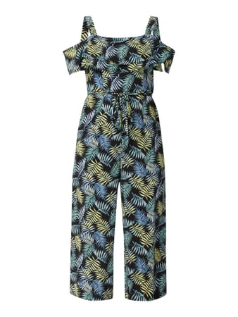 Tom Tailor Cold Shoulder Jumpsuit mit Streifenmuster Schwarz - 1