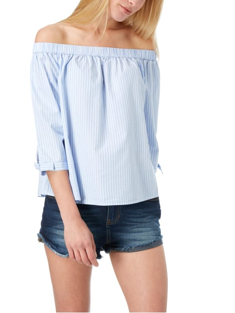 Tom Tailor Denim Off Shoulder Blusenshirt mit Streifenmuster Hellblau - 1