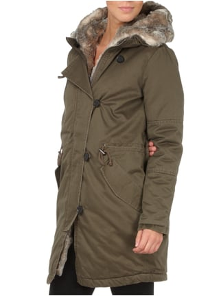 Tom Tailor Denim Parka mit Blende aus Webpelz Olivgrün - 1