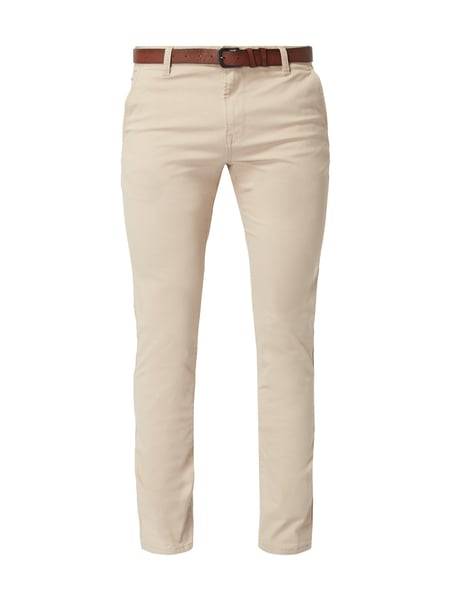 Tom Tailor Denim Skinny Fit Chino mit Gürtel Beige