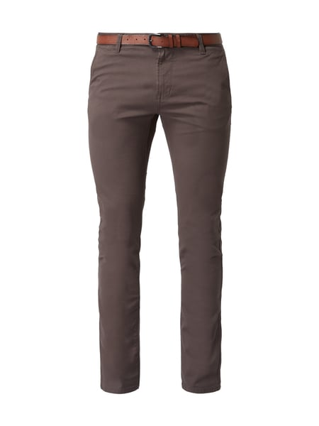 Tom Tailor Denim Skinny Fit Chino mit Gürtel Dunkelgrau