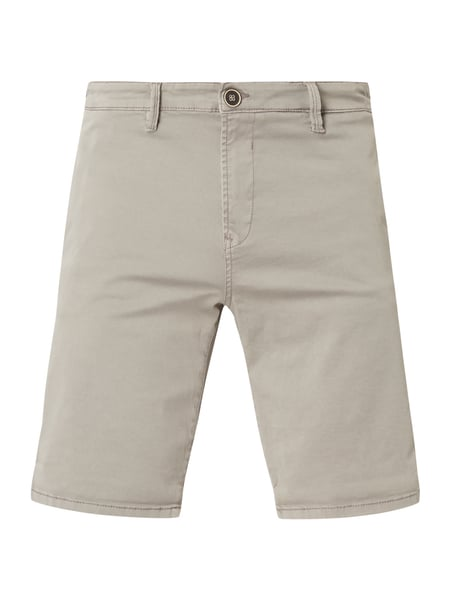 Tom Tailor Denim Slim Fit Chinoshorts mit Stretch-Anteil Mittelgrau