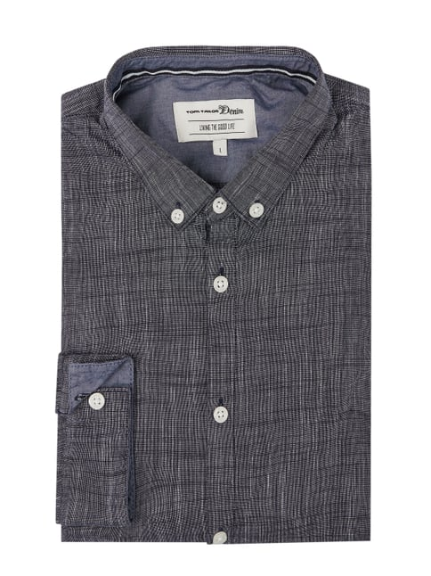 Tom Tailor Denim Modern Fit Freizeithemd mit Button-Down-Kragen Grau    Schwarz ... 707dd62be2