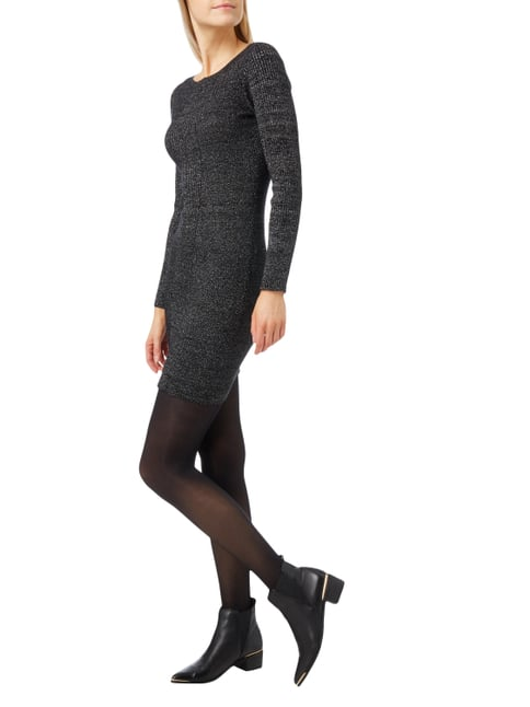 Tom Tailor Denim Strickkleid mit Effektgarn in Grau / Schwarz - 1