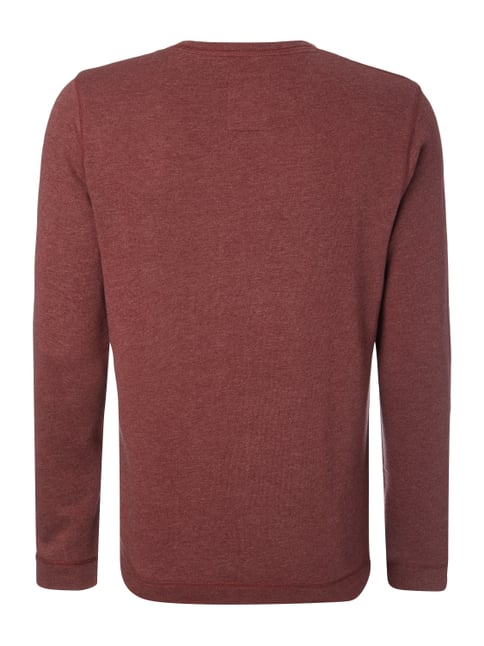 Tom Tailor Denim Sweatshirt mit Logo-Print Bordeaux Rot meliert - 1