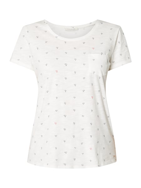 Tom Tailor Denim T-Shirt mit Allover-Muster Offwhite