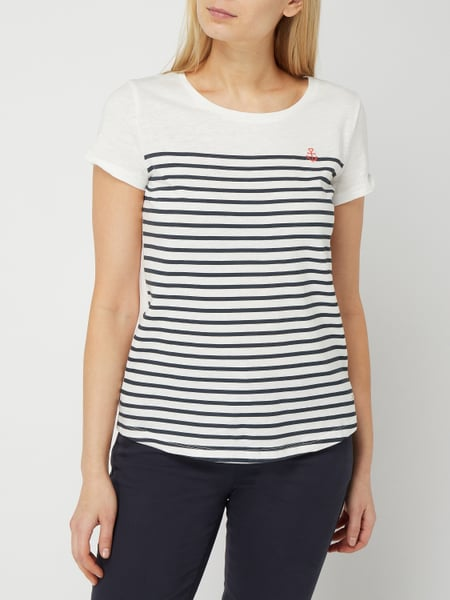 Tom Tailor Denim – T Shirt mit Motiv Stickerei – Offwhite