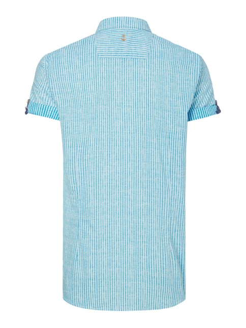 Tom Tailor Fitted Freizeithemd mit kurzem Arm Aqua Blau - 1