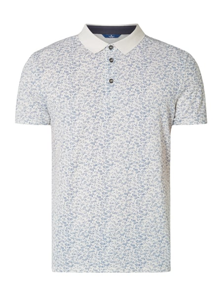 Tom Tailor Fitted Poloshirt mit Paisley-Dessin Offwhite