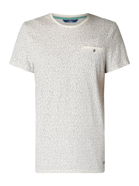 Tom Tailor Fitted T-Shirt mit Brusttasche Offwhite