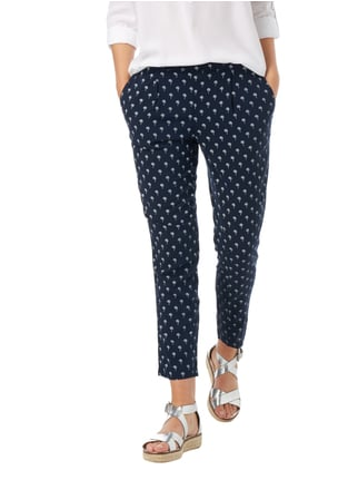 Tom Tailor Jogpants mit Palmenmuster Marineblau - 1