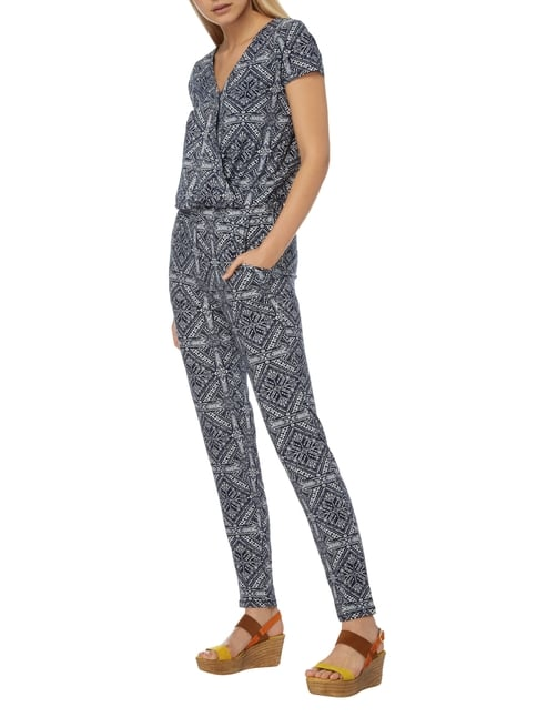 Tom Tailor Jumpsuit mit Allover-Muster in Blau / Türkis - 1