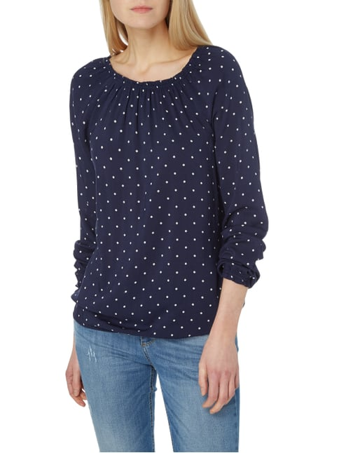 Tom Tailor Off Shoulder Blusenshirt mit Punktemuster Marineblau - 1